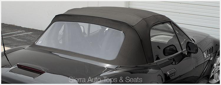 BMW Z3 Convertible Top in Black Vinyl with plastic window