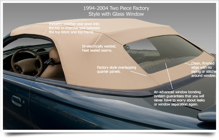 Ford Mustang Glass Window Convertible Top - Never worry about leaks or window separation again!