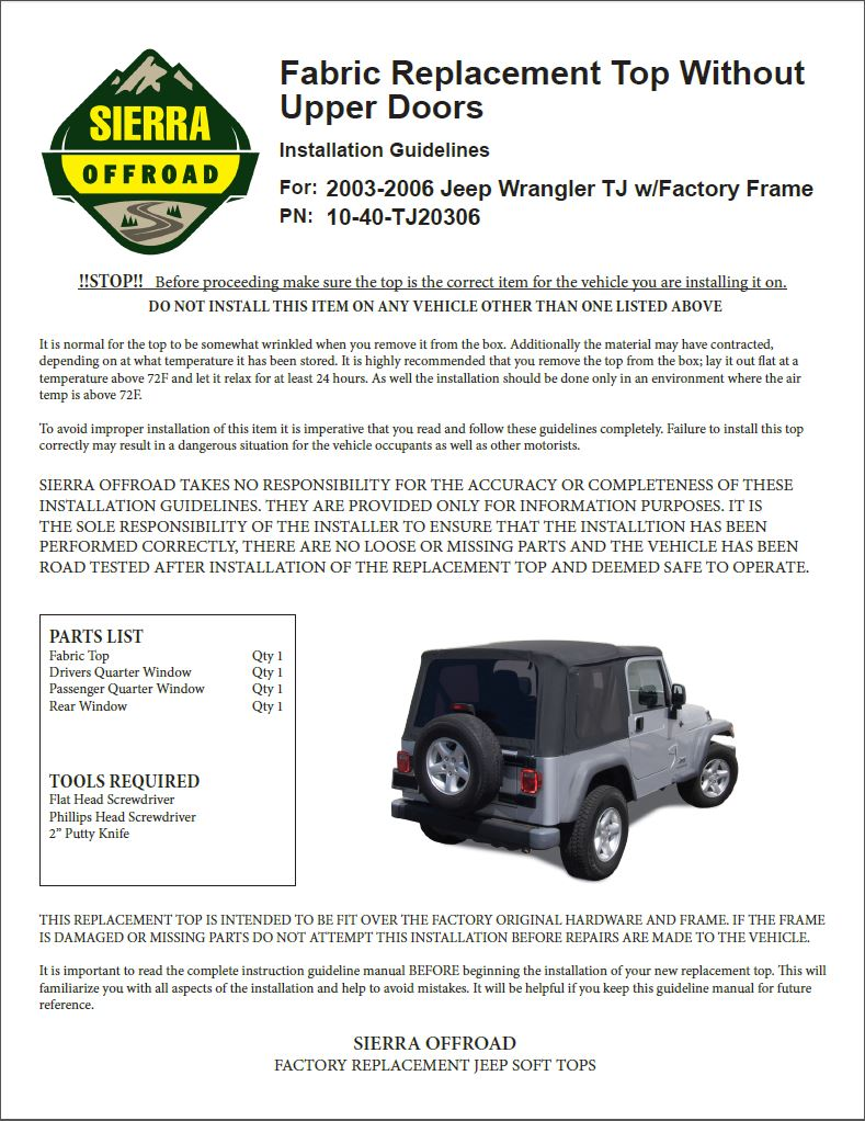 Sierra Offroad Jeep Installation Guide