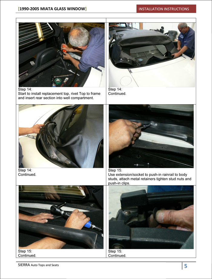 Miata Convertible Top Installation Instructions