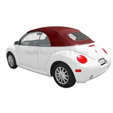 VV Beetle Convertible Top, German A5, Bordeaux Red, Manual Opening Top Frame