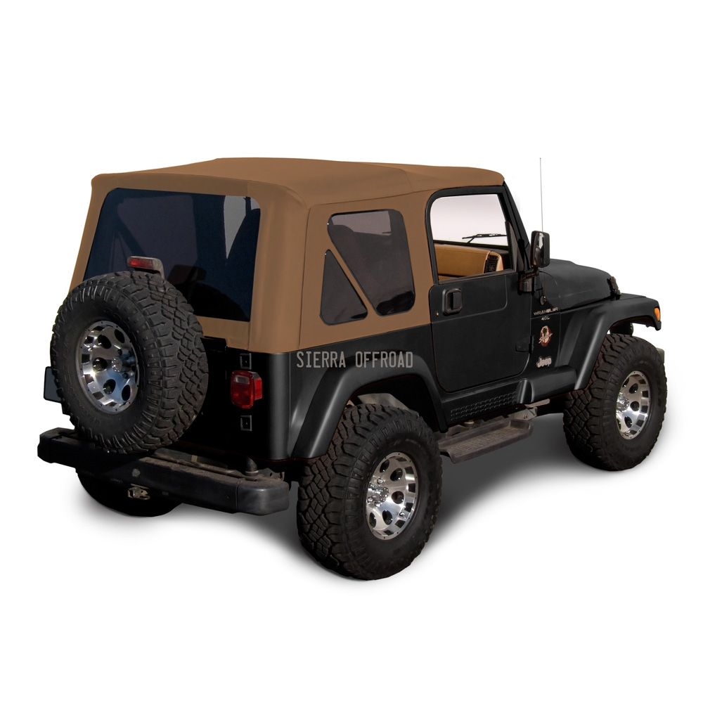 sierra offroad 1997 2002 tj wrangler factory style soft top with tinted windows in saddle sailcloth. Black Bedroom Furniture Sets. Home Design Ideas