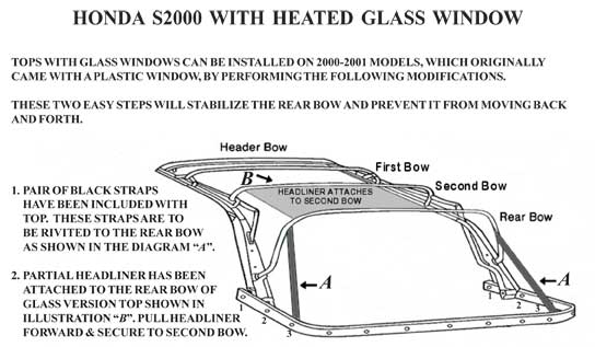 Honda S2000 Convertible Top Glass Window