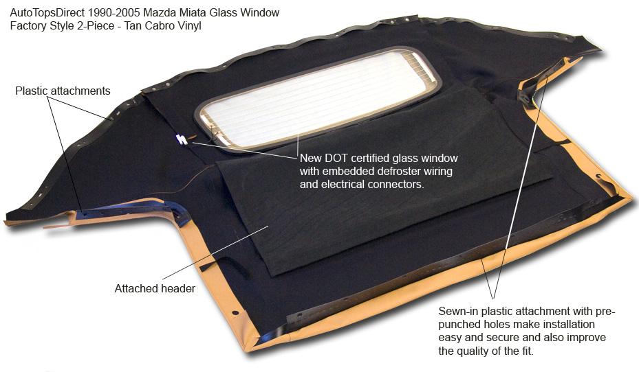 1990 2005 Mazda Miata Convertible Top Updgrade Glass