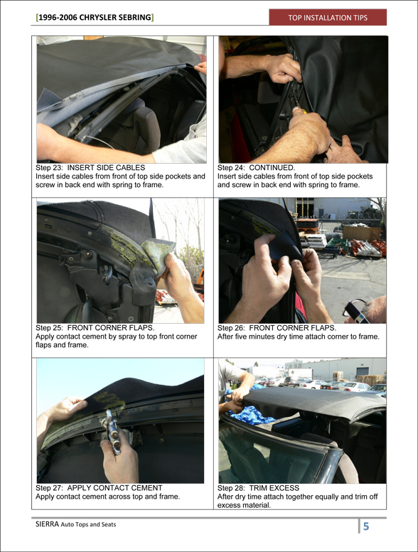 Chrysler Sebring Convertible Top Installation Instructions